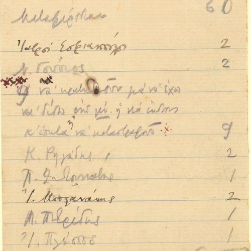 Χειρόγραφος κατάλογος της διανομής του Τεύχους του 1904, αποτελούμε�