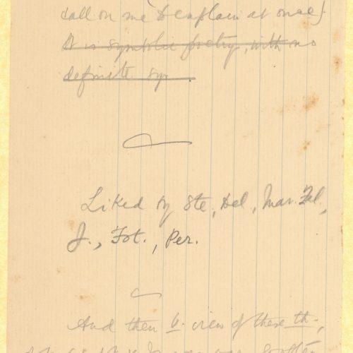 Χειρόγραφα σχόλια και σημειώσεις για το ποίημα «Περιμένοντας τους