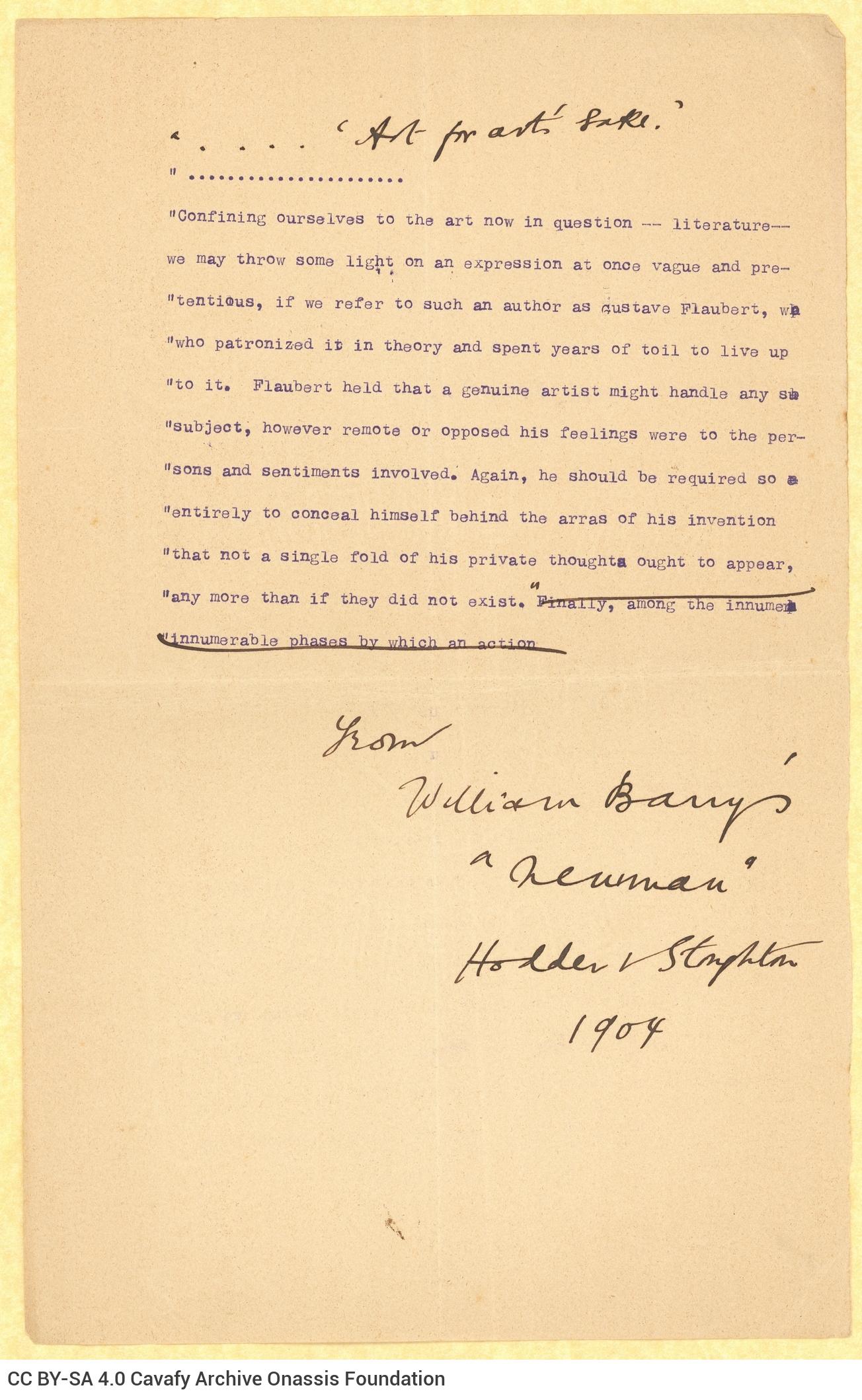 Δακτυλόγραφο παράθεμα από το έργο *Newman* του Ουίλλιαμ Μπάρρυ (William Barr