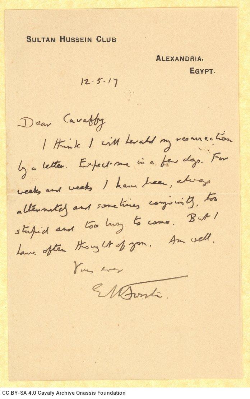 Χειρόγραφη επιστολή του Ε. Μ. Φόρστερ (E. M. Forster) προς τον Καβάφη, με την