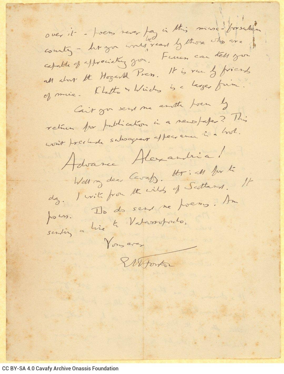 Χειρόγραφη επιστολή του Ε. Μ. Φόρστερ (E. M. Forster) προς τον Καβάφη, στις δ