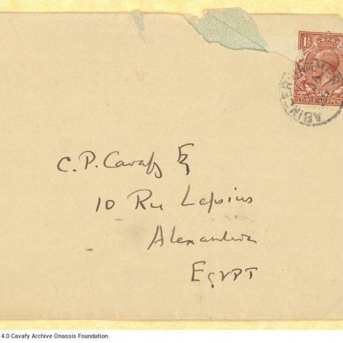 Χειρόγραφη επιστολή του Ε. Μ. Φόρστερ (E. M. Forster) προς τον Καβάφη στη μί�