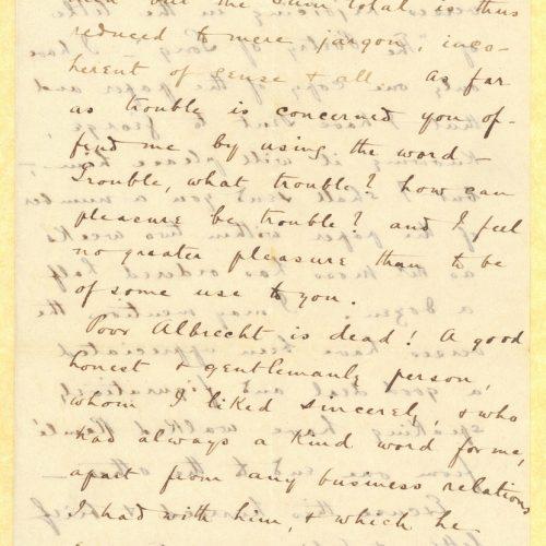 Χειρόγραφη επιστολή του Τζων Καβάφη προς τον Κ. Π. Καβάφη στο recto ενός