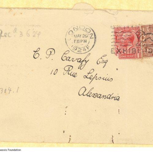 Επιστολικός φάκελος προς τον Καβάφη σταλμένος από το Λονδίνο με σφρ�