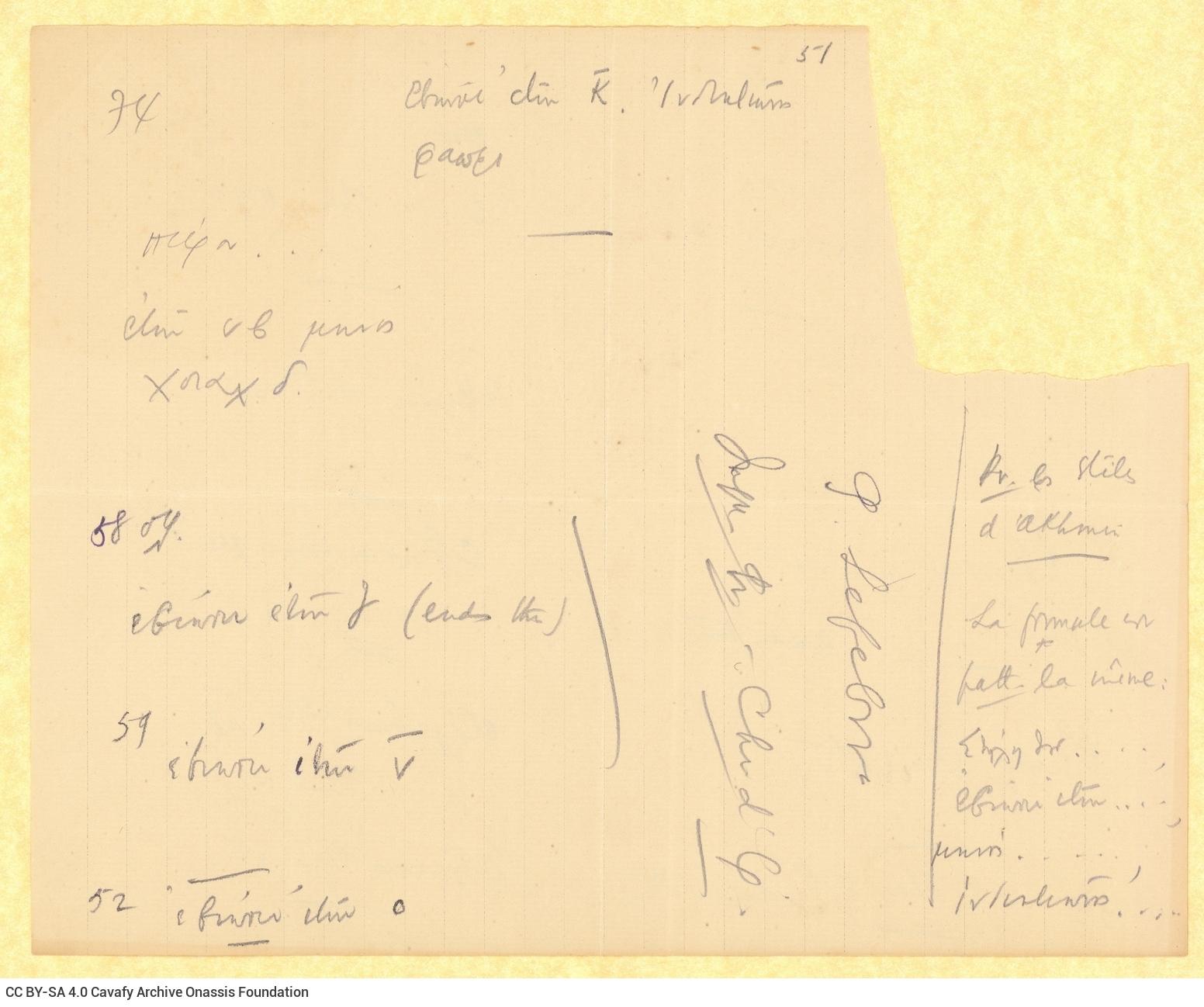 Χειρόγραφο ποίημα («Εν τω Μηνί Αθύρ») στην πρώτη σελίδα διαγραμμισμέ
