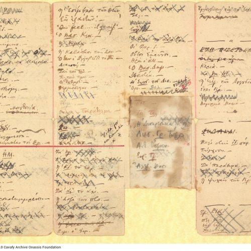 Χειρόγραφοι τίτλοι ποιημάτων σε δύο φύλλα χαρτιού, χωρισμένα με με