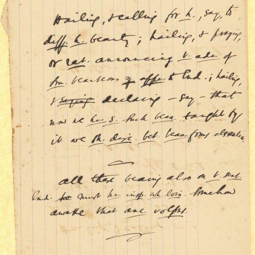 Χειρόγραφες σημειώσεις στα αγγλικά στη μία όψη διαγραμμισμένου φύ