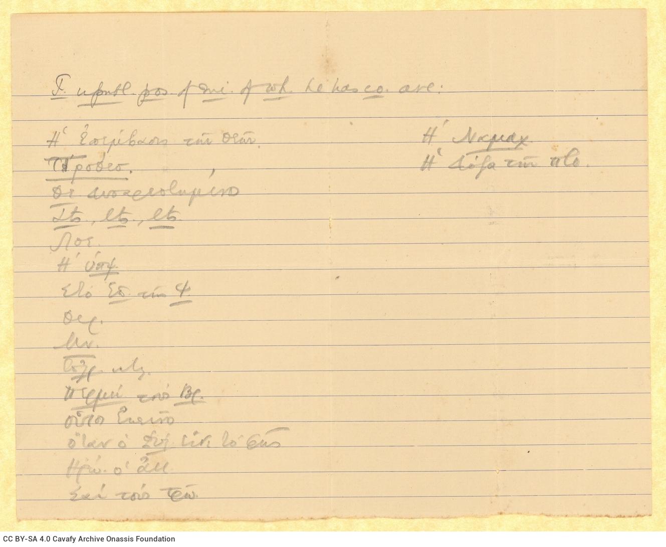 Χειρόγραφοι τίτλοι αδημοσίευτων ποιημάτων, αντίγραφα των οποίων κ
