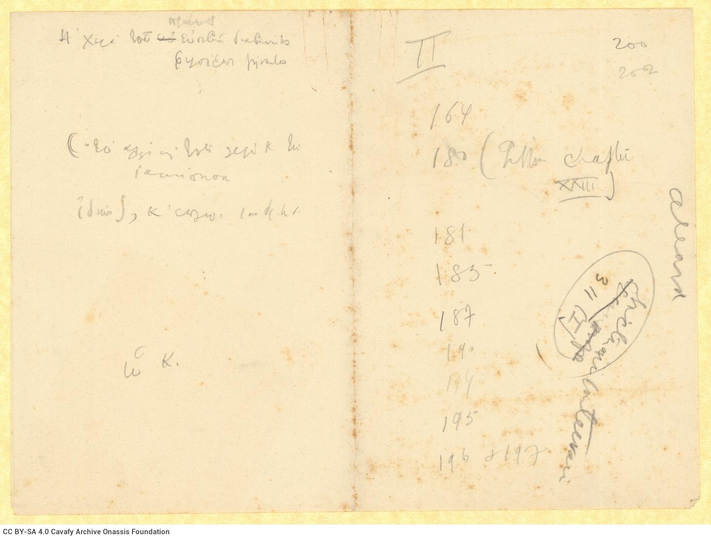 Χειρόγραφες σημειώσεις με βραχυγραφίες στη μία όψη φύλλου και στη