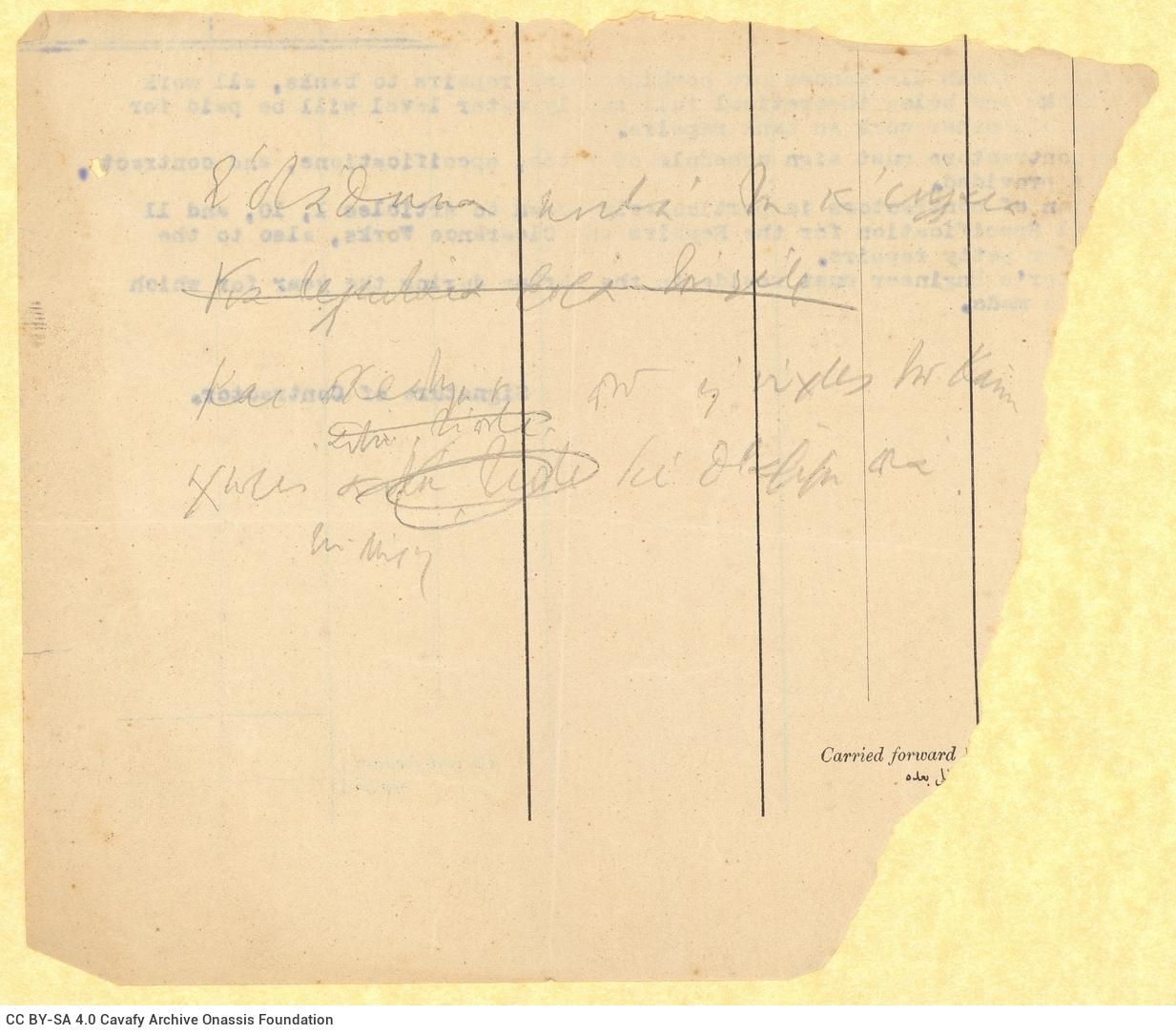 Χειρόγραφη σημείωση του Καβάφη στη μία όψη τμήματος έντυπου υπηρε�