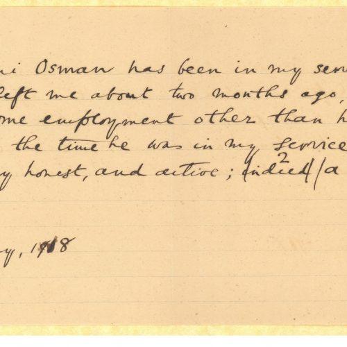 Δύο χειρόγραφες σύντομες συστατικές επιστολές του Καβάφη για τον �