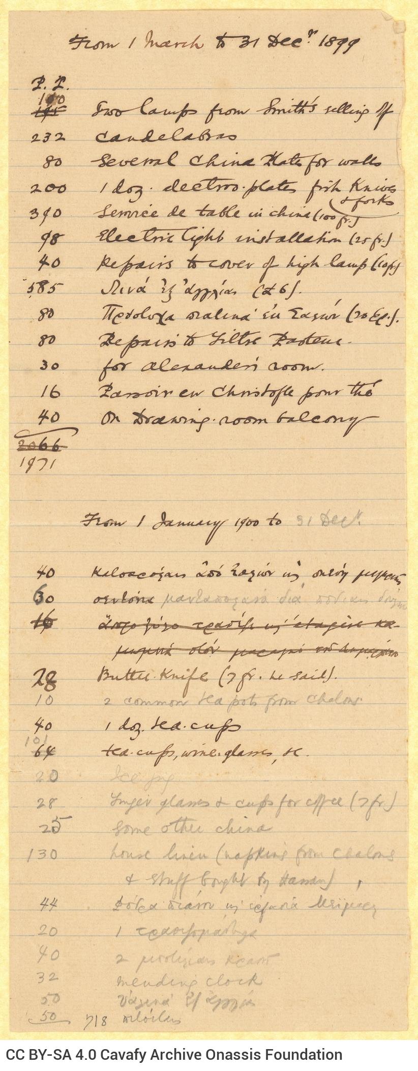 Handwritten list of household items (lamps, crockery, cooking utensils, fabrics, etc.) on one side of a sheet, cut in half