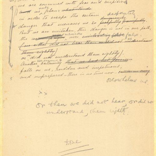 Χειρόγραφο αγγλικής μετάφρασης του ποιήματος «Τελειωμένα» από τον �