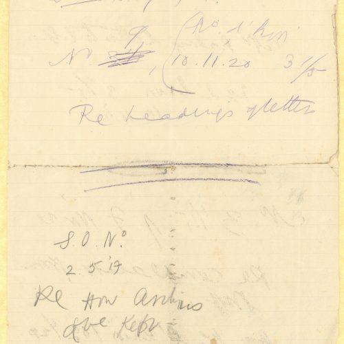 Χειρόγραφες σημειώσεις (ενδεχομένως υπηρεσιακού χαρακτήρα) σε διαγ�