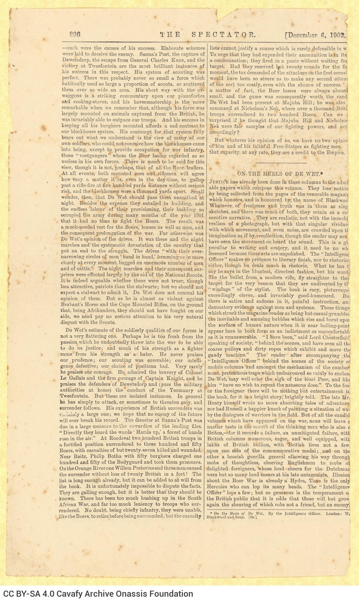 Απόκομμα του βρετανικού περιοδικού *The Spectator*, σχετικό με τον Christiaan de W