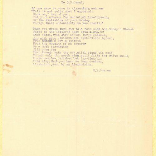 Typewritten poem by M. B. Davies in English; handwritten emendation.