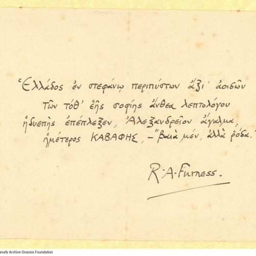 Handwritten epigram by R. A. Furness  for Cavafy.
