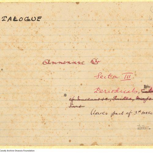 Χειρόγραφος κατάλογος των περιοδικών στη βιβλιοθήκη του Καβάφη, α�