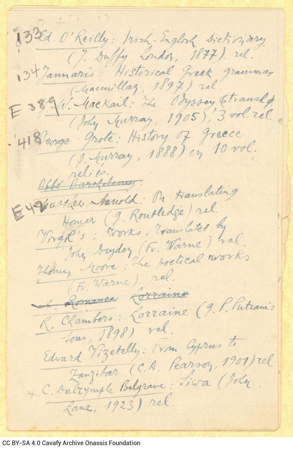 Χειρόγραφος κατάλογος βιβλίων και περιοδικών, γραμμένος σε τρία τετ