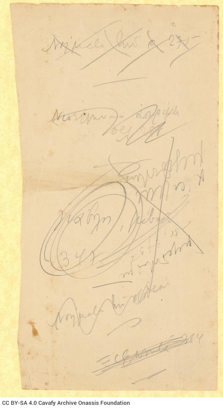 Χειρόγραφες σημειώσεις του Καβάφη στις δύο όψεις χαρτιού, με διαγρ