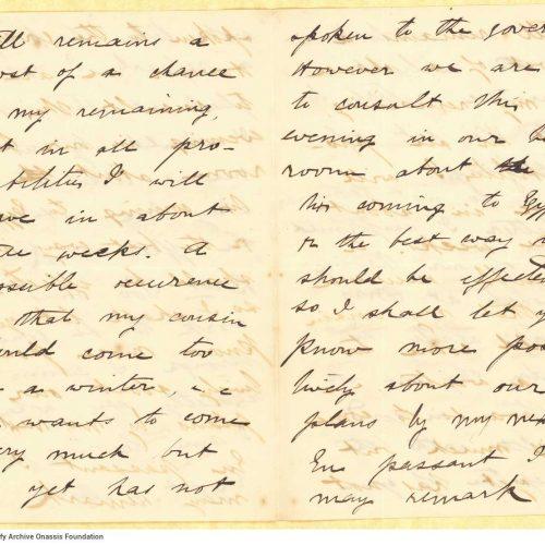 Χειρόγραφη επιστολή του Μικέ Ράλλη προς τον Καβάφη, σε τρία τετρασέλ