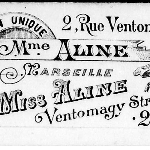 Διαφημιστικό έντυπο του Maison Unique Mme Aline, οίκου ανοχής στη Μασσαλία.