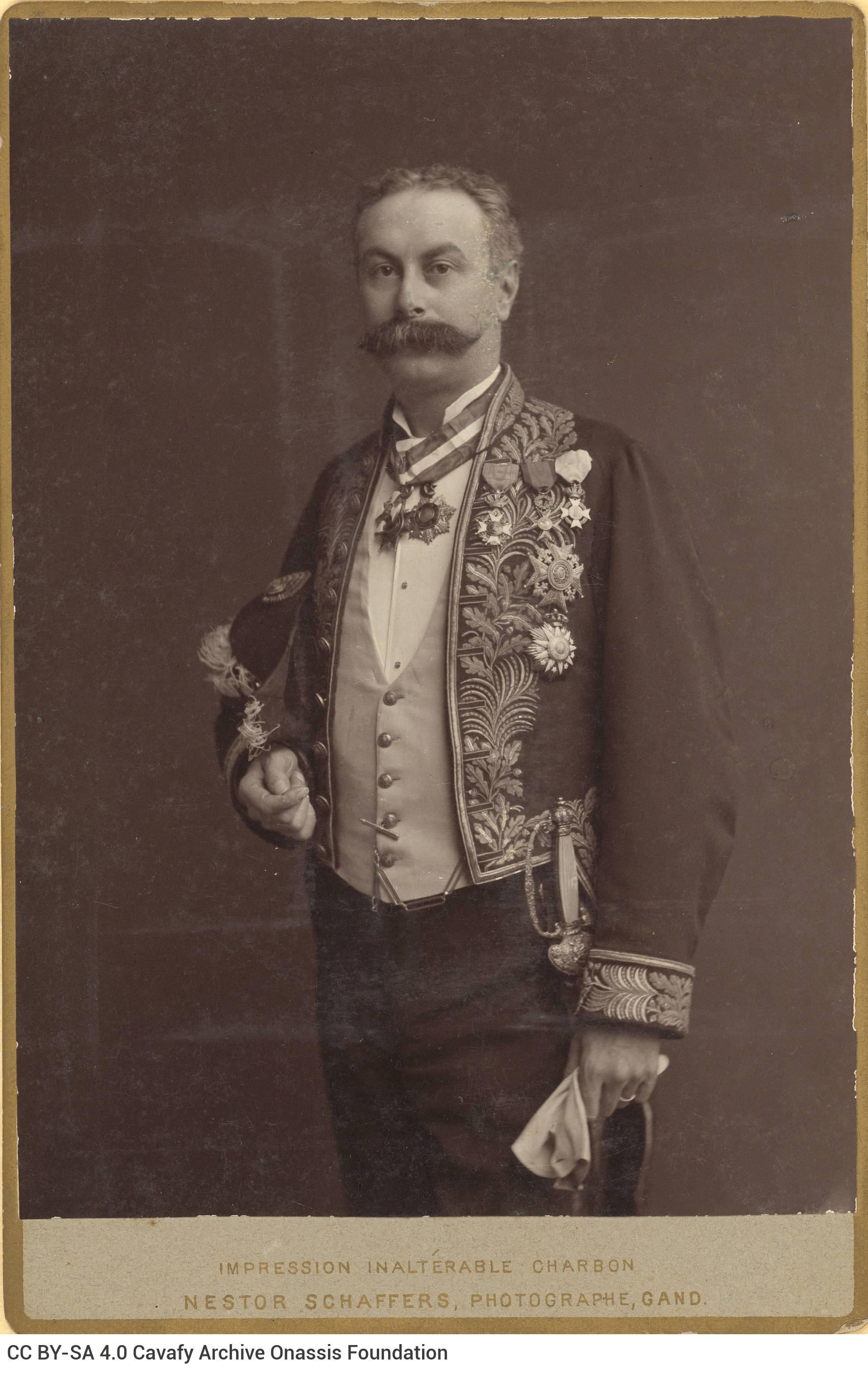 Photograph of Leon Verhaeghe de Naeyer, husband of the poet's aunt, Sévastie Photiadés, in an official ambassadorial unifor