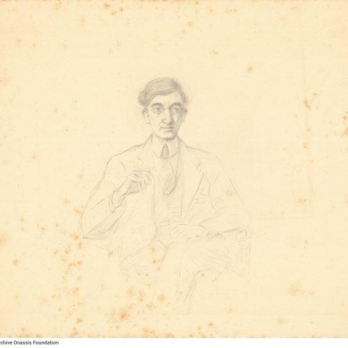 Σκίτσο με μολύβι στη μία όψη φύλλου, αγνώστου καλλιτέχνη. Το verso κενό.